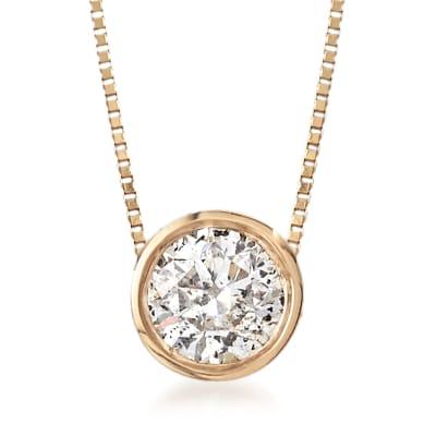 .62 Carat Bezel-Set Diamond Solitaire Necklace in 14kt Yellow Gold