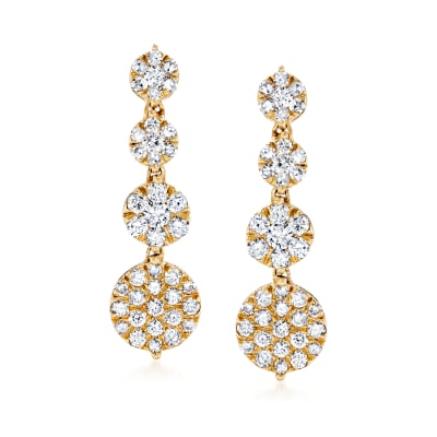 1.00 ct. t.w. Diamond Cluster Drop Earrings in 14kt Yellow Gold