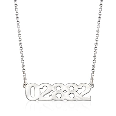 Personalized Sterling Silver Zip Code Necklace
