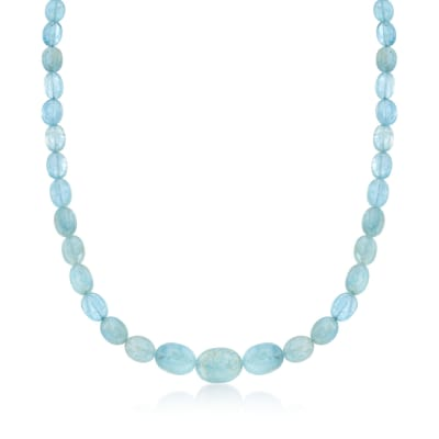 Milky Aquamarine Bead Necklace in Sterling Silver