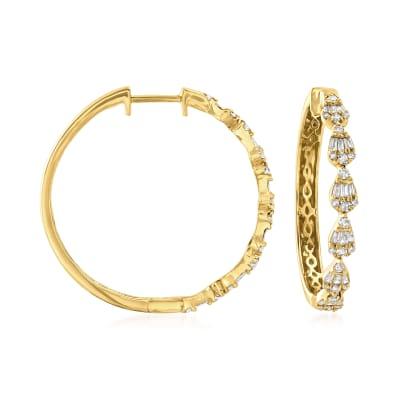 .64 ct. t.w. Diamond Hoop Earrings in 14kt Yellow Gold