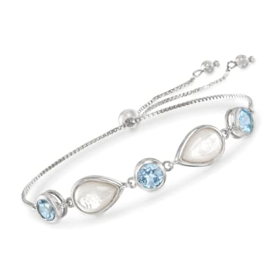Mother-Of-Pearl and 6.00 ct. t.w. Blue Topaz Bolo Bracelet in Sterling Silver