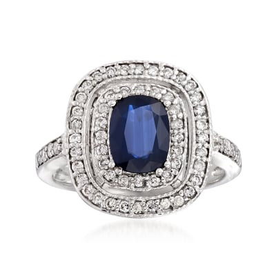 1.50 Carat Sapphire and .48 ct. t.w. Diamond Double-Halo Ring in 14kt White Gold