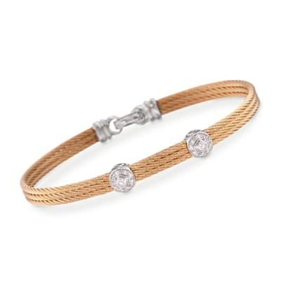 "ALOR ""Classique"" Diamond Double-Station Yellow Cable Bracelet with 18kt White Gold"