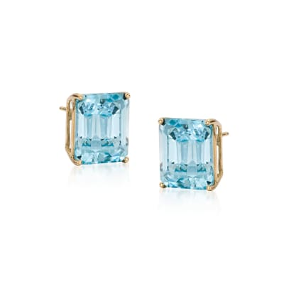 10.00 ct. t.w. Swiss Blue Topaz Earrings in 14kt Yellow Gold