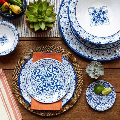 """Talavera"" Azul Melamine Dinnerware"