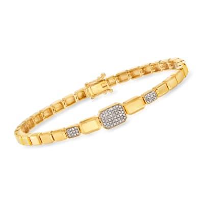 .20 ct. t.w. Diamond Rectangular-Link Bracelet in 18kt Gold Over Sterling