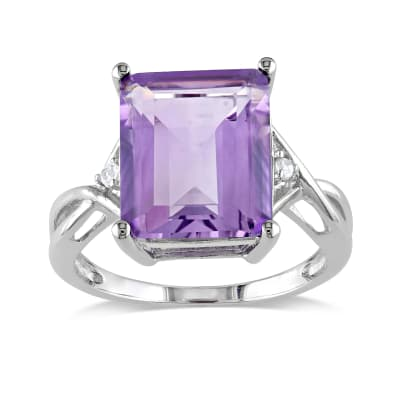 5.75 Carat Emerald-Cut Amethyst Ring with White Topaz Accents in Sterling Silver