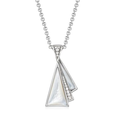 "Belle Etoile ""Empire"" Mother-Of-Pearl and .21 ct. t.w. CZ Pendant in Sterling Silver"