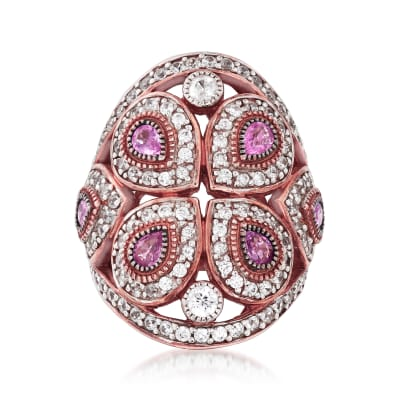 2.20 ct. t.w. White Zircon and 1.20 ct. t.w. Pink Sapphire Ring in 18kt Rose Gold Over Sterling Silver