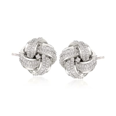 .50 ct. t.w. Diamond Love Knot Stud Earrings in Sterling Silver
