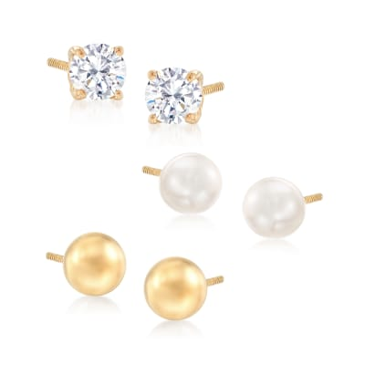 .20 ct. t.w. CZ and Cultured Pearl in 14kt Yellow Gold Jewelry Set: Three Pairs of Stud Earrings