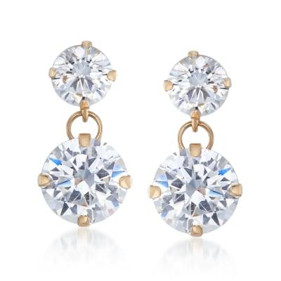 3.50 ct. t.w. CZ Double Drop Earrings in 14kt Yellow Gold
