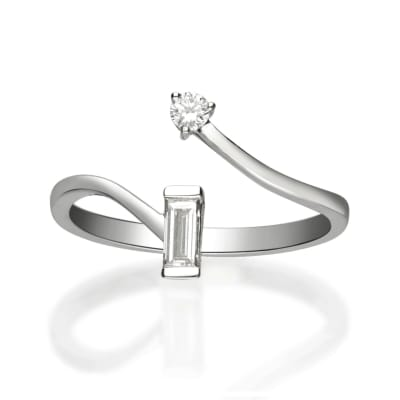 .24 ct. t.w. Baguette and Round Diamond Bypass Ring in 14kt White Gold