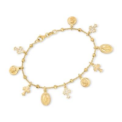 Italian 18kt Gold Over Sterling Religious Charm Bracelet