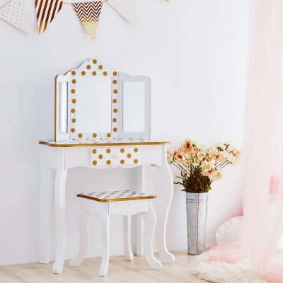 Child's White and Pink Polka Dot Gisele Vanity Table and Stool Set with Mirror