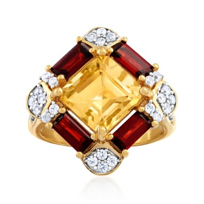 2.50 Carat Citrine, 1.30 ct. t.w. Garnet and .50 ct. t.w. White Zircon Ring in 18kt Gold Over Steling