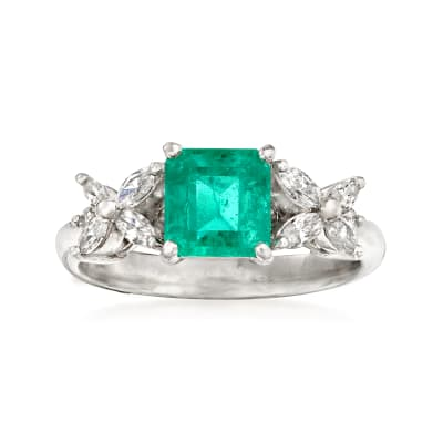 C. 1980 Vintage 1.20 Carat Emerald and .36 ct. t.w. Diamond Ring in Platinum