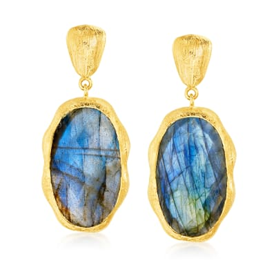 Labradorite Drop Earrings in 18kt Gold Over Sterling