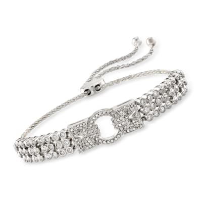 .50 ct. t.w. Diamond Open-Circle Bolo Bracelet in Sterling Silver