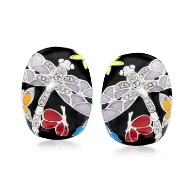 .15 ct. t.w. Diamond Dragonfly Hoop Earrings with Multicolored Enamel in Sterling Silver