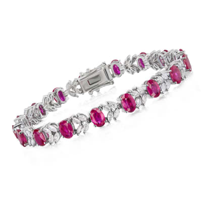 9.75 ct. t.w. Ruby and 2.35 ct. t.w. Diamond Floral Tennis Bracelet in 18kt White Gold