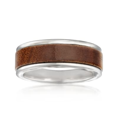 Men's 8mm Tungsten Carbide and Wood Center Wedding Ring