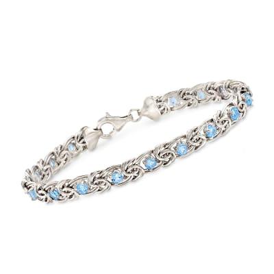 2.30 ct. t.w. Sky Blue Topaz Byzantine Bracelet in Sterling Silver