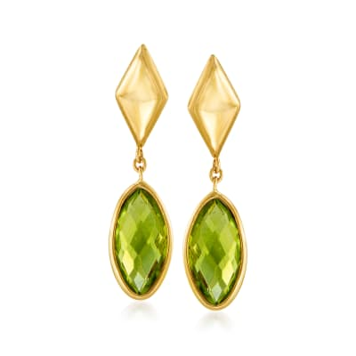 Italian .40 ct. t.w. Peridot Drop Earrings in 14kt Yellow Gold
