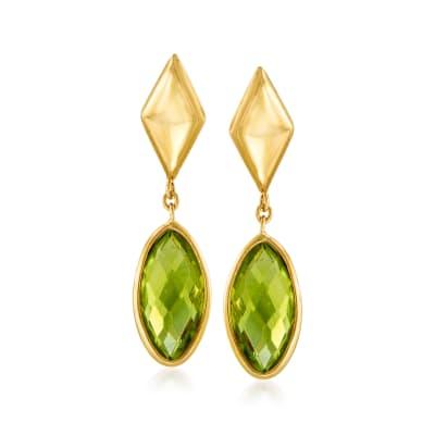 Italian .40 ct. t.w. Peridot Drop Earrings in 14kt Yellow Gold