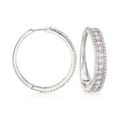 4.00 ct. t.w. Diamond Hoop Earrings in 14kt White Gold