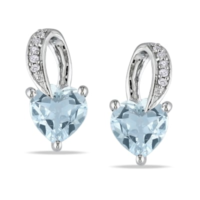 1.30 ct. t.w. Aquamarine Heart Earrings with Diamond Accents in Sterling Silver