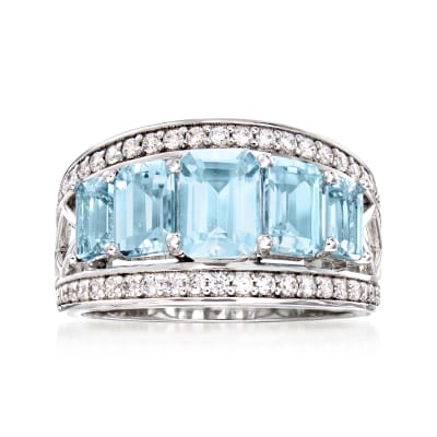 3.10 ct. t.w. Aquamarine and .45 ct. t.w. White Zircon Ring in Sterling Silver