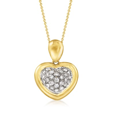 C. 1990 Vintage .80 ct. t.w. Diamond Heart Pendant Necklace in 18kt Yellow Gold