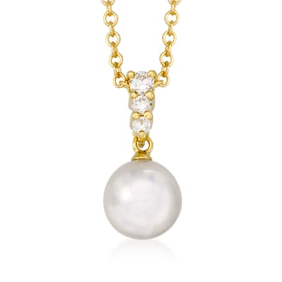 Mikimoto 8mm A+ Akoya Pearl Necklace with .12 ct. t.w. Diamonds in 18kt Yellow Gold