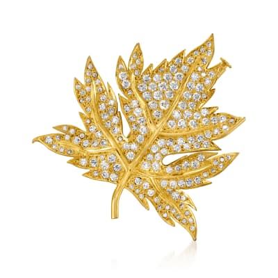 C. 1980 Vintage 3.75 ct. t.w. Diamond Maple Leaf Pin in 18kt Yellow Gold