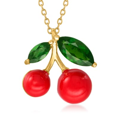 1.00 ct. t.w. Green Chrome Diopside and Red Enamel Cherry Pendant Necklace in 18kt Gold Over Sterling