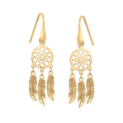 Italian 14kt Yellow Gold Dreamcatcher Drop Earrings
