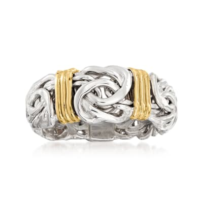 Sterling Silver Byzantine Ring with 14kt Gold Stations