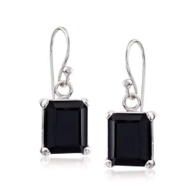 10x8mm Emerald-Cut Black Onyx Drop Earrings in Sterling Silver