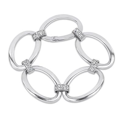.95 ct. t.w. Diamond Oval-Link Bracelet in 14kt White Gold