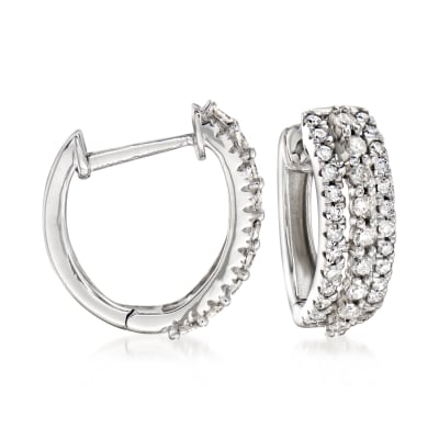 .50 ct. t.w. Diamond Huggie Hoop Earrings in 14kt White Gold