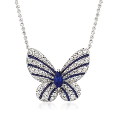 .30 Carat Sapphire and .60 ct. t.w. White Topaz Butterfly Necklace with Enamel in Sterling Silver