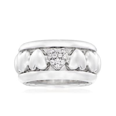 C. 1997 Vintage Piaget .10 ct. t.w. Diamond Heart Ring in 18kt White Gold