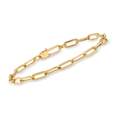 Roberto Coin 18kt Yellow Gold Roped Paper Clip Link Bracelet