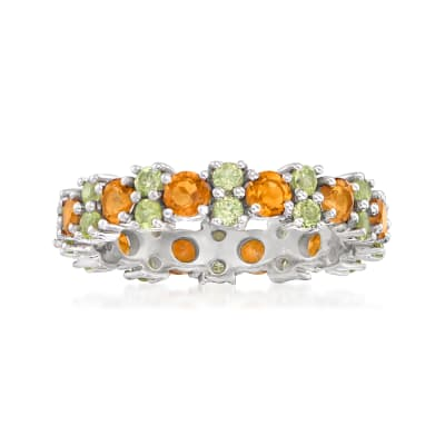 1.20 ct. t.w. Citrine and 1.10 ct. t.w. Peridot Eternity Band in Sterling Silver