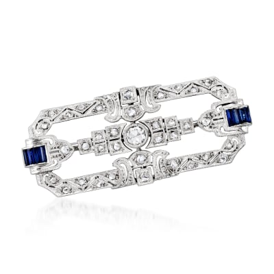 C. 1980 Vintage .58 ct. t.w. Diamond and .40 ct. t.w. Synthetic Sapphire Pin in Platinum and 18kt White Gold