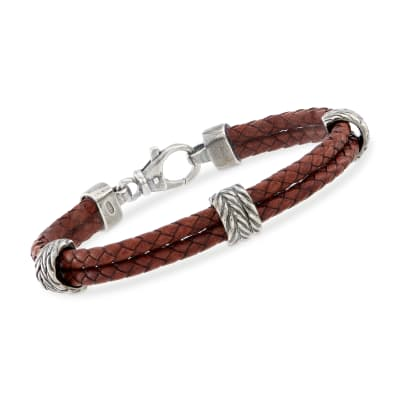 Phillip Gavriel Men's Brown Leather Station Bracelet with Sterling Silver