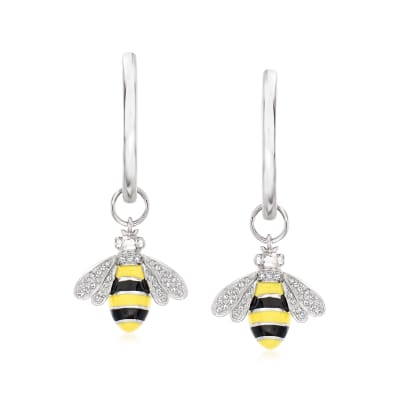 .15 ct. t.w. Diamond Bumblebee Hoop Drop Earrings in Sterling Silver