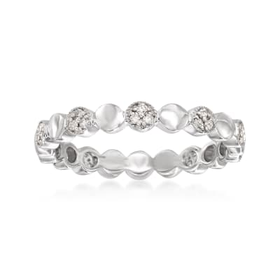 .13 ct. t.w. Pave Diamond Alternating Circle Eternity Band in 14kt White Gold